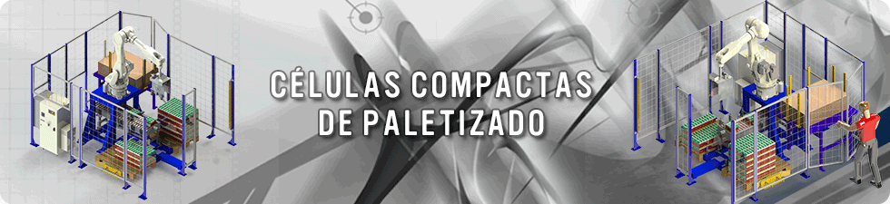 Compact robotic palletizing cell