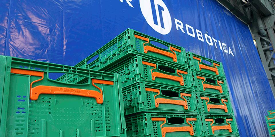 Paletizado de cajas plegables en sector alimentario
